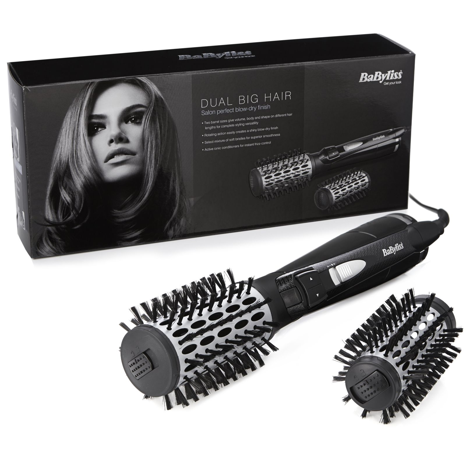 New Babyliss 2990u Dual Big Hair Rotating Hot Brush Styler