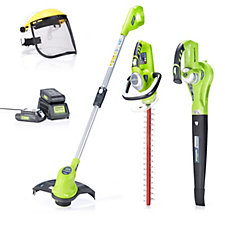 Greenworks Set of 3 24v Lithium Ion Garden Tools with 2 Batteries
