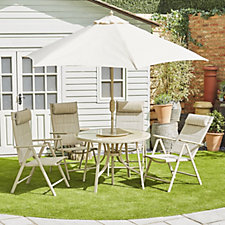 Homa Round Dining Set with 4 x Chairs Lazy Suzan & Crank Tilt Parasol
