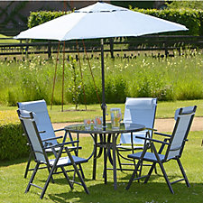 Azore 6pc Round Dining Set with Parasol & 2 x Loungers