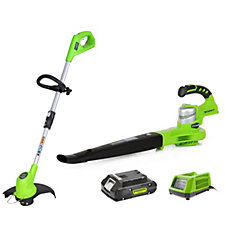 Greenworks Set of 2 24 v Lithium Ion Line Trimmer & Leaf Blower