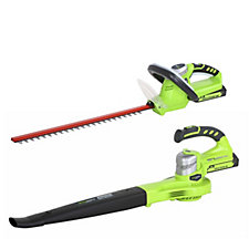 Greenworks Set of 2 24 v Lithium Ion Hedge Trimmer & Leaf Blower