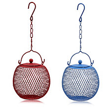 Home 2 Garden Set of 2 Iron Mesh Peanut Bird Feeders