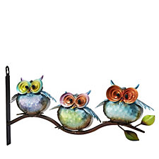Plow & Hearth Metal 3 Owls on Branch Wall Art