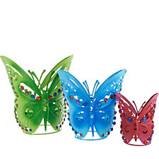 Plow & Hearth Set of 3 Indoor/Outdoor Butterfly Planters