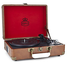 GPO Attache Stand Alone Turntable Record Player with Built in Speakers