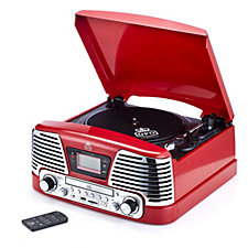 506836 - GPO Memphis Vinyl Turntable MP3 Player FM Radio and CD Deck