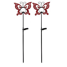 Set of 2 Solar Globe Butterfly Stake Lights