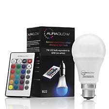 Auraglow Remote Control Colour Changing Bulb - B22