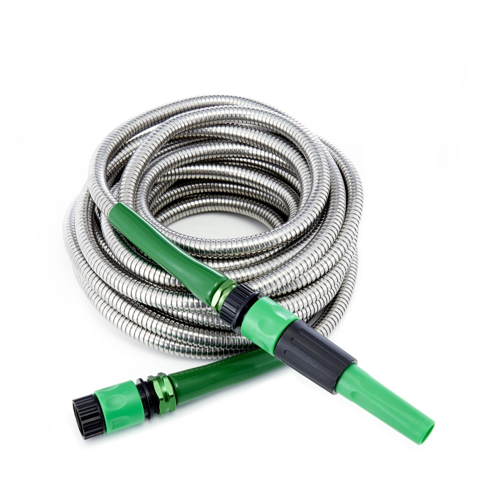 bernini 40ft stainless steel no kink garden hose with nozzle qvc uk