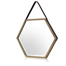 BundleBerry by Amanda Holden Hexagonal Mirror with Faux Leather Strap
