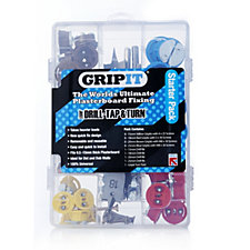 Grip It Starter Set with 32 Fixings 4 Flat Drill Bits & Screwdriver Tool