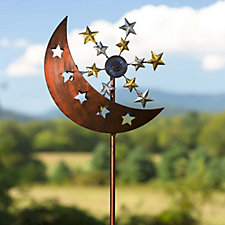 Plow & Hearth Solar LED Copper Sun & Moon Ornament