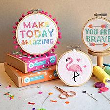 The Make Arcade Affirmations Set of Three Cross Stitch Kits