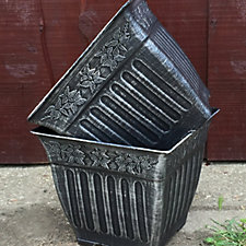 Plants2Gardens 2 x Grey Decorative Square Planters