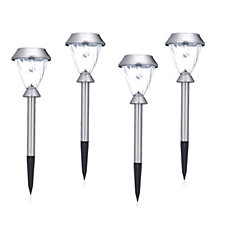 509778 - Luxform Set of 4 Stainless Steel Solar Postlights with Glass Lens