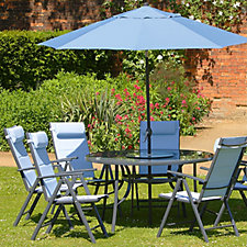 Azore 9 Piece Dining Set with Lazy Susan & Parasol