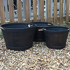 Plants2Gardens Set of 3 Antique Gold Half Barrel with Rope Handles