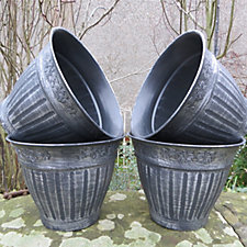 Plants2Gardens Set of 4 Small Antique Silver Planters