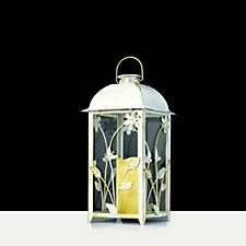Compass Garden Solar Candle & Flower Design Glass Lantern