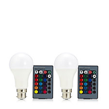 Langdon's Set of 2 LED Colour Changing Bulbs with 2 Remote Controls