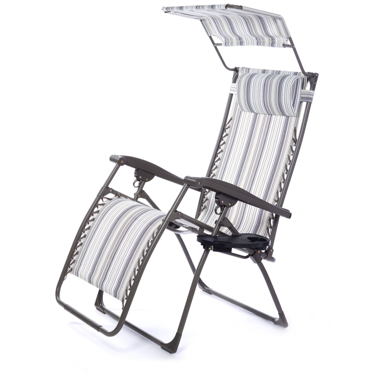 Garden Furniture Qvc multi position luxury sized recliner chair w/ drinks holder canopy
