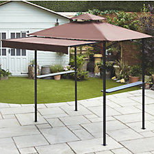 507893 - Metal Framed BBQ Gazebo with Sun Shelter