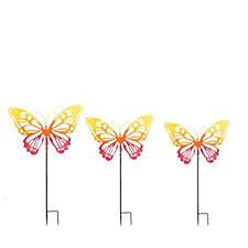 Plow & Hearth Set of 3 Butterfly Silhouettes on Stakes
