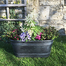 Plants2Gardens Large Slate Grey Oval Trough
