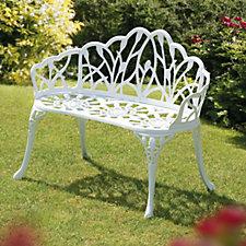 Sun Time 95cm Perth White Metal Garden Bench