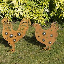 Home 2 Garden Cockerel & Hen Garden Decorations