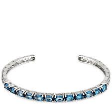 5ct London Blue Topaz Flexible Bangle Sterling Silver