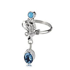 Nizhoni Swiss Blue Topaz & Turquoise Eagle Charm Ring Sterling Silver