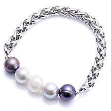 Honora 10-11mm Cultured Pearl Stretch Bracelet Stainless Steel