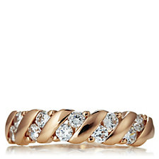 Diamonique 0.5ct Rose Gold Plated 10 Stone Wave Ring Sterling Silver