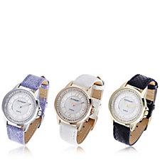 Gossip Set of 3 Mother of Pearl Crystal Dial Ladies Watch