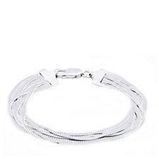 Bianca Platinum Plated Multi Row Liquid 19cm Bracelet Sterling Silver