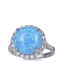 Diamonique 8ct Simulated Blue Opal Ring Sterling Silver