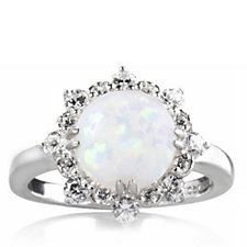 Diamonique 0.4ct tw Simulated Opal Cluster Ring Sterling Silver