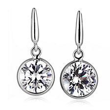 Epiphany Platinum Clad Diamonique 8ct tw Drop Earrings Sterling Silver