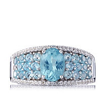 2ct Apatite & White Topaz Band Ring Sterling Silver - 656903