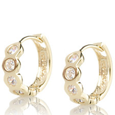 Diamonique Veronese 1ct tw Bezel Set Snuggie Hoop Earrings Sterling Silver