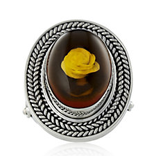 Suarti Collection Carved Amber Rose Ring Sterling Silver