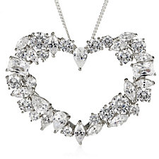 Diamonique by Tova 13.6ct tw Heart Pendant & 45cm Chain Sterling Silver