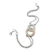 Diamonique 2.9ct tw Linked Circles 19cm Bracelet Sterling Silver