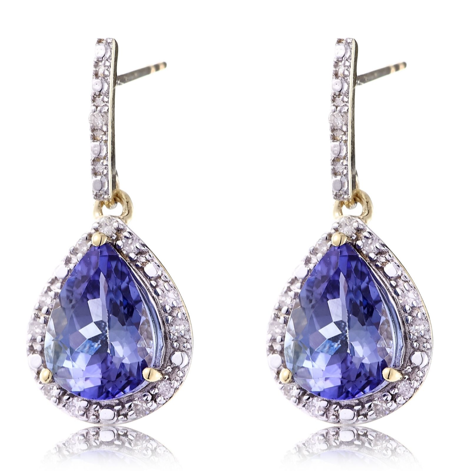 2.1ct Lilac Tanzanite & Diamond Drop Earrings 9ct Gold