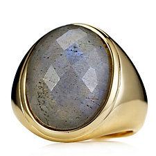 Bella Vita 18ct Gold Plated Labradite Ring Bronze