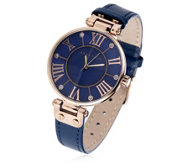 Anne Klein Signature Navy Dial Leather Strap Watch