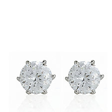 620805 - Diamonique on Madison Avenue 2ct tw 100 Facet Stud Earrings Sterling Silver