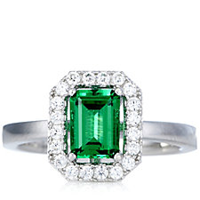 Platinum Plated Diamonique 1.2ct tw Emerald Cut Ring Sterling Silver